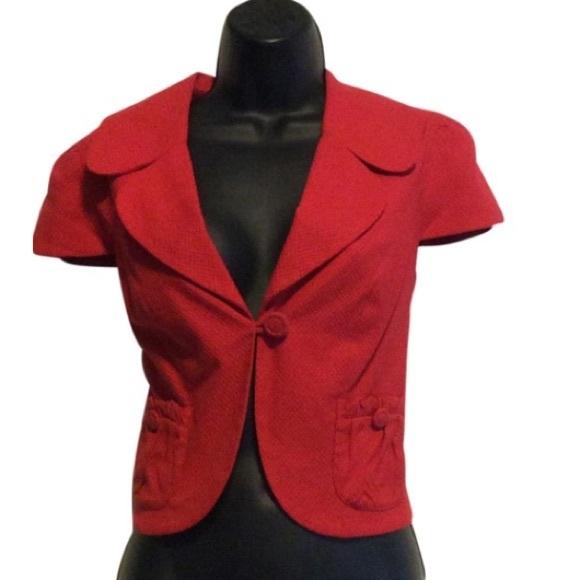 Debbie Shuchat Jackets & Blazers - Debbie Shuchat Red cap sleeve cropped jacket